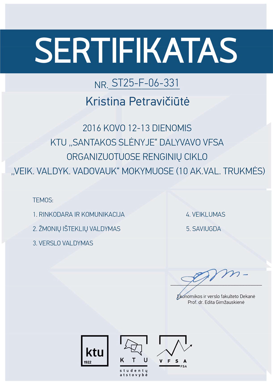 Kristina Petraviciute - Do. Manage. Lead. certificate 2016