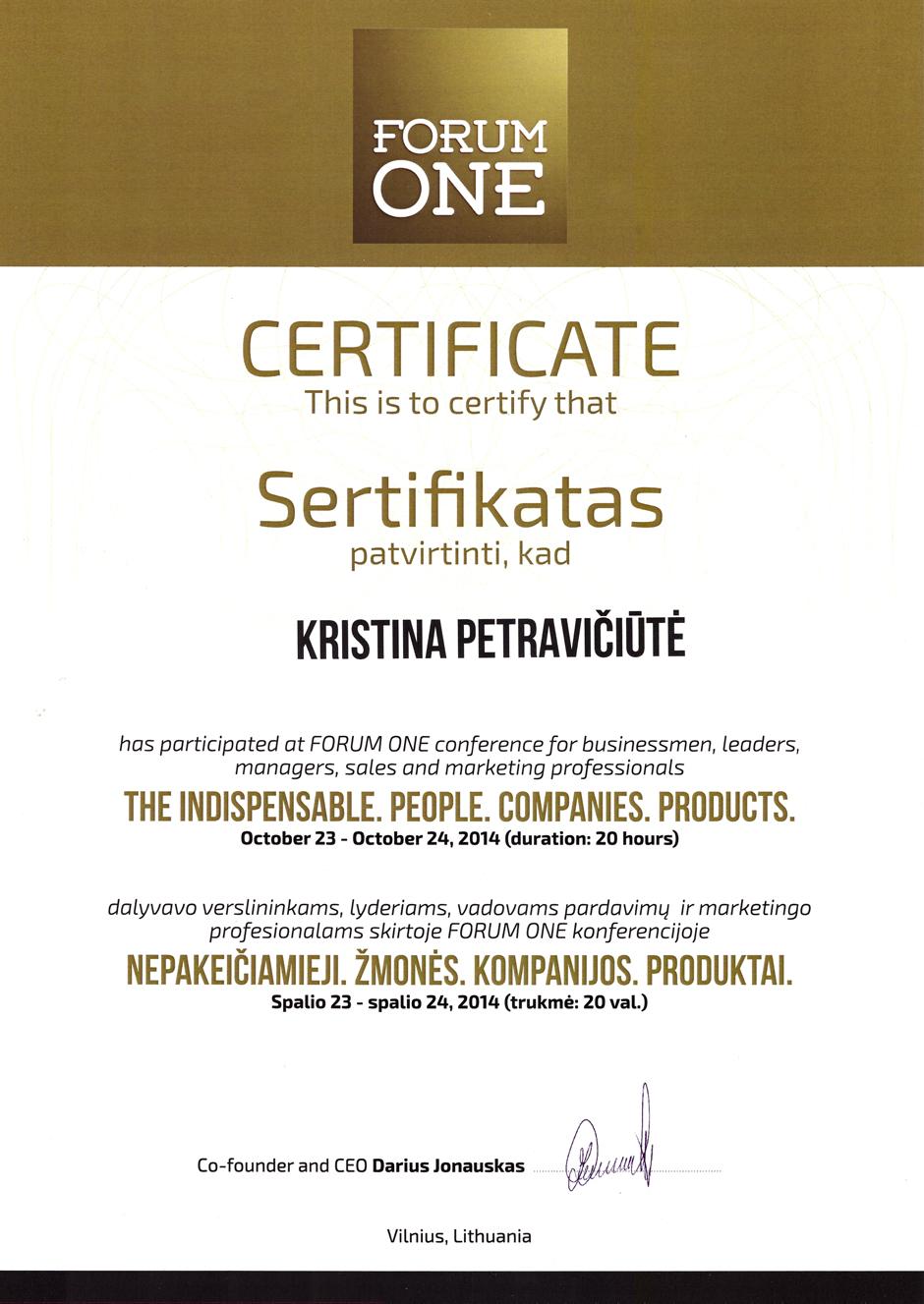 Kristina Petraviciute - Forum One certificate 2014