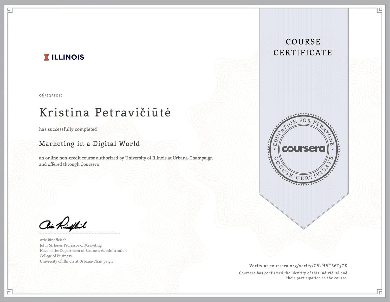 Marketing in a Digital World - certificate