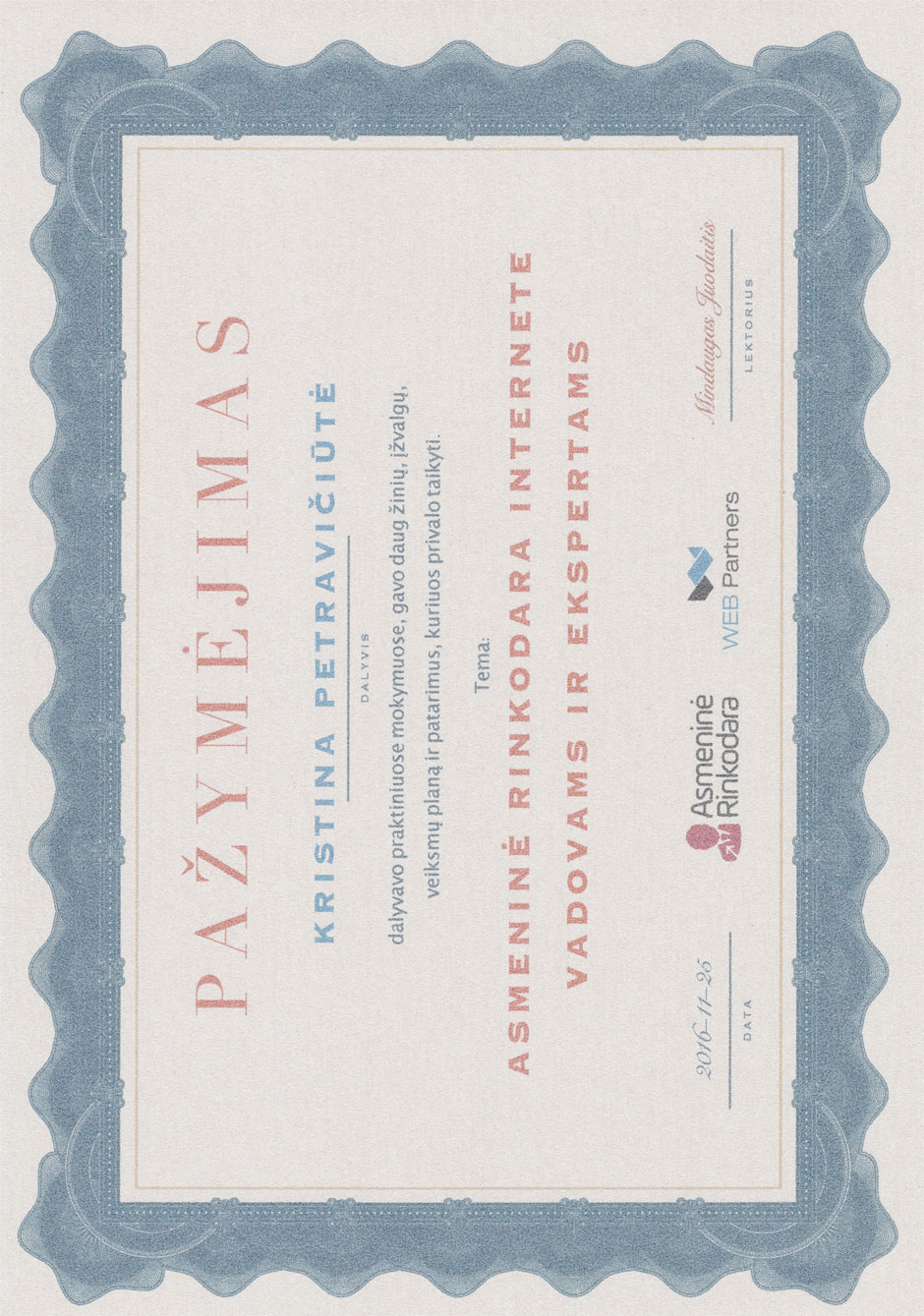 Kristina Petraviciute - Personal digital marketing certificate 2016