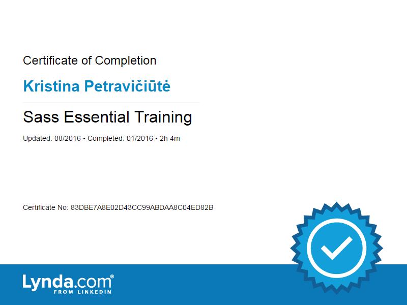 Kristina Petraviciute - Sass Essential Training certificate 2016