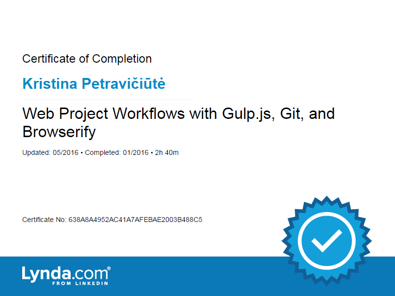 Kristina Petraviciute - Web Project Workflows with Gulp.js, Git, and Browserify certificate 2016